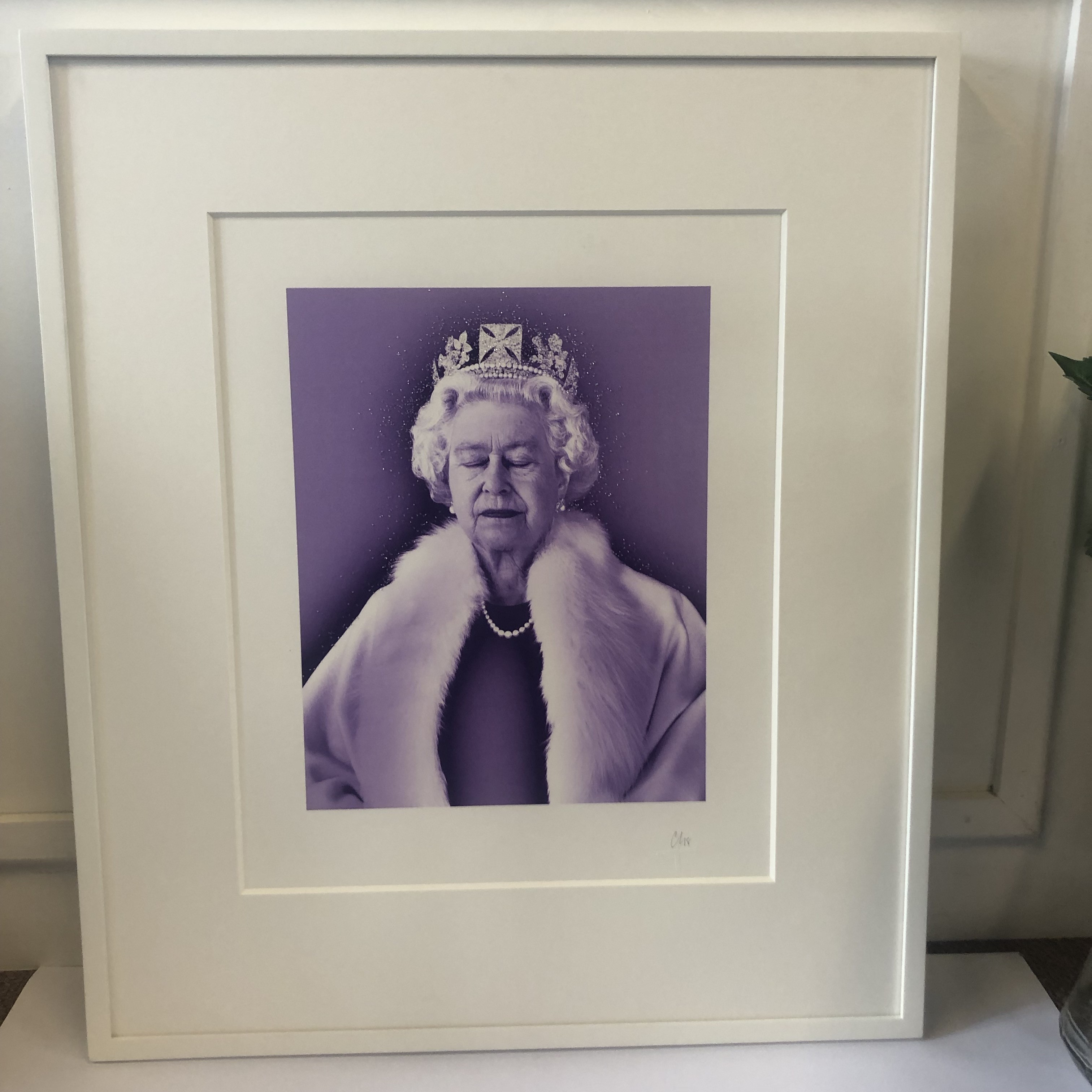 Portrait of the Queen by Chris Levine. A purple screen print with swarovski crystals applied.