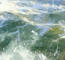 Skye Breaker is a limited edition giclee print by James Bartholomew. Bartholomew uses tones of green merging into blue to give depth to the piece.