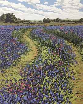 Alexandra Buckle - Blue Field Tracks - flowers fields linocut print