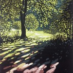 Alexandra Buckle - Summer Tree Glow - woods woodlands sunlight linocut print