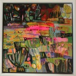 Elaine Kazmierczuk, A Little Bit of Fun in the Flowerbed, Original Oil Painting, Abstract Landscape Painting