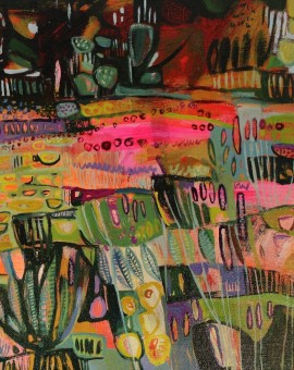Elaine Kazmierczuk, A Little Bit of Fun in the Flowerbed, Original Oil Painting, Abstract Landscape Painting 2