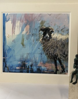 James Bartholomew, Ewe on Blue, Limited Edition Giclee Print, Animal Art 11