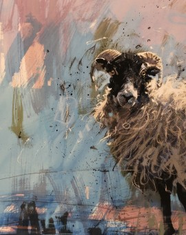 James Bartholomew, Ewe on Blue, Limited Edition Giclee Print, Animal Art 12
