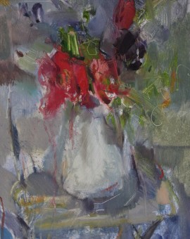 Jemma Powell, Opening Pink and Purple Tulips, Original Oil Painting, Still Life Flowers