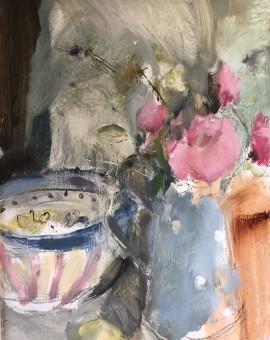 Jemma Powell, Peonies & Stripey Joy, Original Oil Painting 10