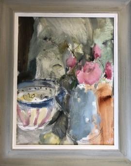 Jemma Powell, Peonies & Stripey Joy, Original Oil Painting 12