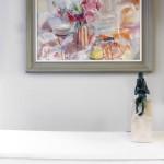 Jemma Powell, Peonies in Stripey Joy, Original Flower Painting