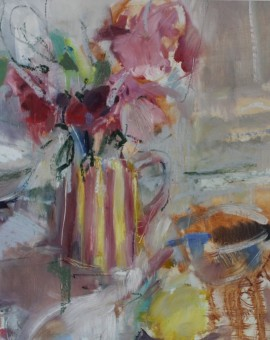 Jemma Powell, Peonies in Stripey Joy, Original Flower Painting 2