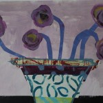 Jenny Balmer, Patterned Vase with Purple Flowers, Original Abstract Still Life Collage