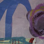 Jenny Balmer, Patterned Vase with Purple Flowers, Original Abstract Still Life Collage 4