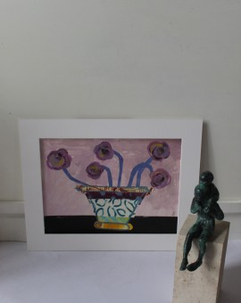 Jenny Balmer, Patterned Vase with Purple Flowers, Original Abstract Still Life Collage 9