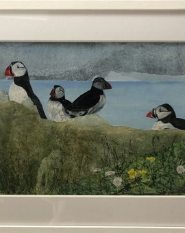 Judith Yarrow, Faroes - Puffin, Mixed Media Painting, Gouache, Watercolour, Collage on Paper, Animal Art, Bird Art 2