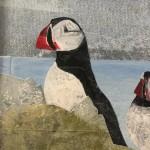 Judith Yarrow, Faroes – Puffin, Mixed Media Painting, Gouache, Watercolour, Collage on Paper, Animal Art, Bird Art 4