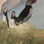 Judith Yarrow, Faroes - Puffin, Mixed Media Painting, Gouache, Watercolour, Collage on Paper, Animal Art, Bird Art 8