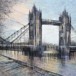 Marc Todd. London - Tower Bridge At Twilight. Original Contemporary Impressionist Cityscape Painting, London Paintings For Sale Online