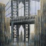 Marc Todd. New York - Manhattan Bridge At Twilight, Contemporary Impressionist Cityscape Painting, Buy New York Painting Online
