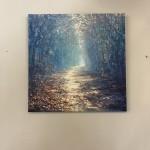 Mariusz Kaldowski, Enchanted Forest in Blue, Original Acrylic Landscape Painting 11