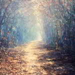 Mariusz Kaldowski, Enchanted Forest in Blue, Original Acrylic Landscape Painting