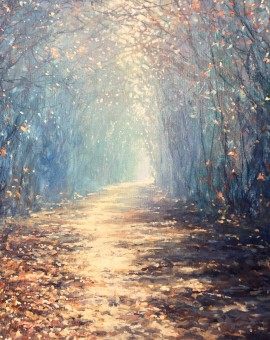 Mariusz Kaldowski, Enchanted Forest in Blue, Original Acrylic Landscape Painting
