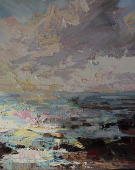Paul Treasure, Golden Tide, Original Seascape Painting, Contemporary Art