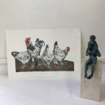 Sue Brown, Hens, Limited Edition Etching, Animal Art, Bird Art, Affordable Art 2