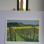 Jennifer Jokhoo Boxhill from Denbies natural landscape contemporary linocut print copy