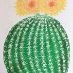 Joanna Padfield Echino cactus Linocut Print Wychwood Art