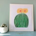 Joanna Padfield Echino cactus Linocut Print Wychwood Art 1