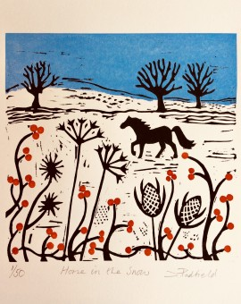 Joanna Padfield Horse in the snow Linocut Print 1