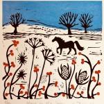 Joanna Padfield Horse in the snow Linocut Print 1