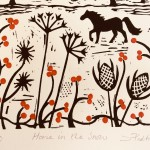 Joanna Padfield Horse in the snow Linocut Print 2