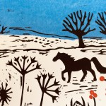 Joanna Padfield Horse in the snow Linocut Print 3