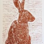 Joanna Padfield Sitting Hare Linocut Print 1