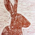 Joanna Padfield Sitting Hare Linocut Print
