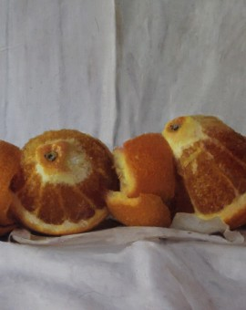 Kate Verrion, Two Seville Oranges, Original Still Life Painting, Contemporary Food Art