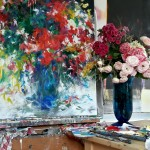 MaryChaplin Bouquet in a blue vase, in studio Wychwood Art (1)