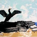 Tim Southall. The Cormorant.Silkscreen print, animal art, affordable art