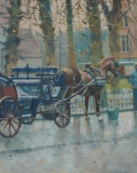 Allbrook Colin Winter dusk, Brugge Original Oil Painting
