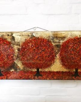 Nicky Chubb, An Autumn Evening Stroll, Original Painting, Lollipop Tree Art, Pop Art