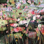 Elaine Kazimierczuk, Apple Blossoms, Forget-Me-Nots and Coltsfoot, Bright Art, Abstract Landscape Paintings