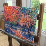 Maples Original Landscape by Rosemary Farrer side detail