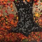 Nicky Chubb, Autumn Leaves Dancing, Red Art, Autumnal Art, Tree Art, Warm Art 3