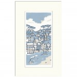 Puffing Across the Bay by Fiona Carver Original Limited Edition linocut print