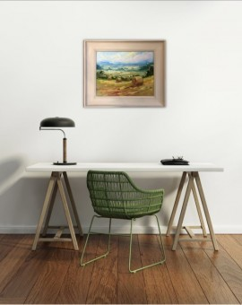 Rupert Aker, Harvest Bales, Original Oil Painting, Textured Paintings, Affordable Art