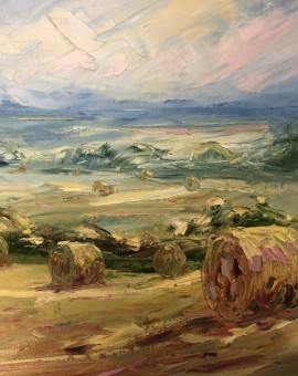 Rupert Aker, Harvest Bales, Original Oil Painting, Textured Paintings, Affordable Art 4