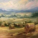 Rupert Aker, Harvest Bales, Original Oil Painting, Textured Paintings, Affordable Art 4