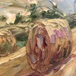 Rupert Aker, Harvest Bales, Original Oil Painting, Textured Paintings, Affordable Art 7