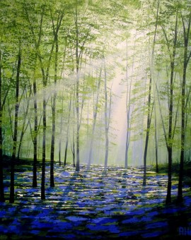 Amanda Horvath Sunlight Forest Landscape Painting, Impressionist Art, Affordable Contemporary Painting