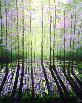 "Amanda Horvath ""A Quiet Wood""  acrylics on canvas 61x61cms £650"
